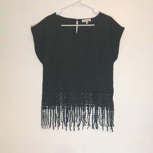 black fringe shirt